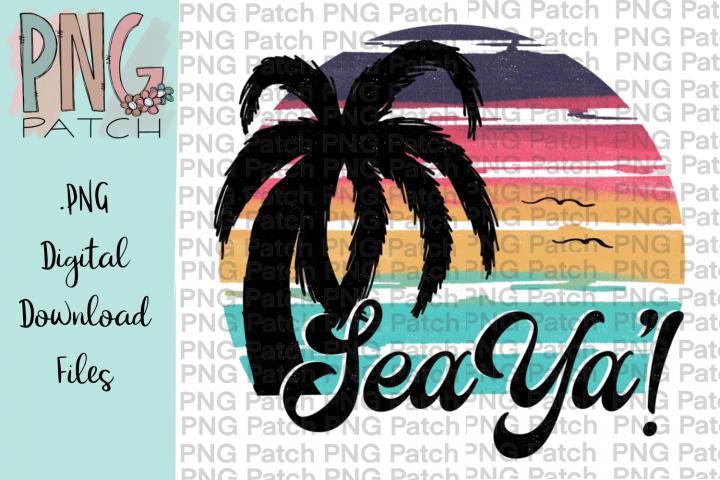 Sea Ya! Retro Beach with Palm, Beach PNG File