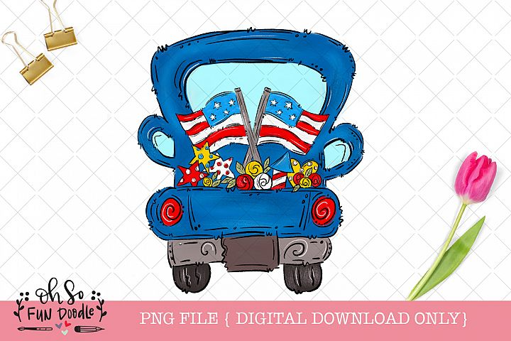 Patriotic truck with American flag, sublimation png, doodle