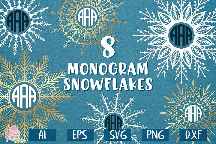 Snowflakes Bundle SVG - Snowflake Monogram Frame Cut Files