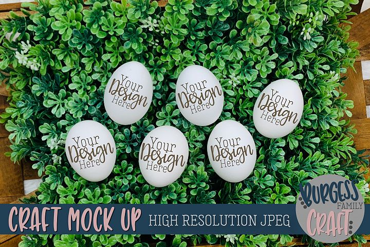 Eggs in grass Craft mock up |High Resolution JPEG