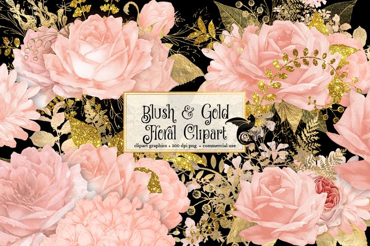 Blush and Gold Floral Clipart