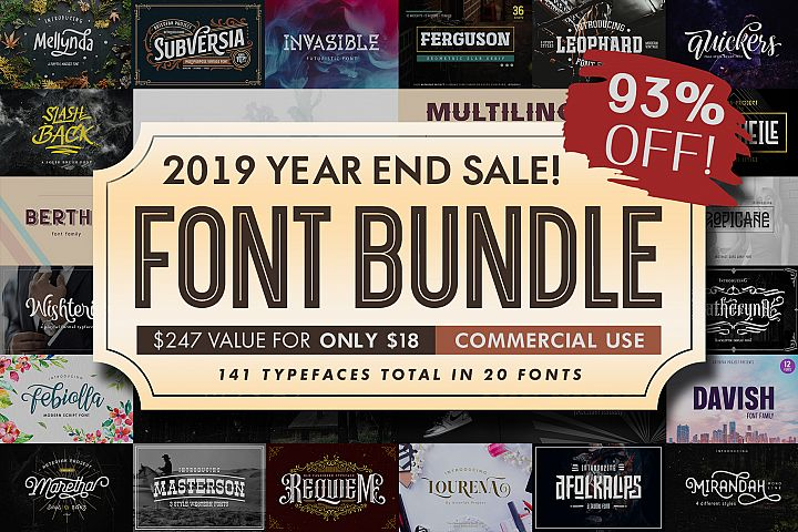 Font Bundle 2019| Year End Sale!