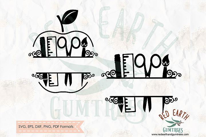Back to school, apple split monogram frame SVG,DXF,PNG,EPS