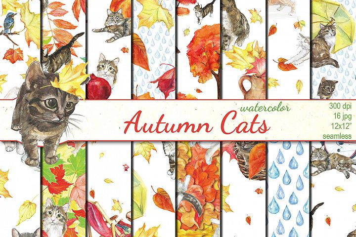 Watercolor Autumn Cats seamless patterns