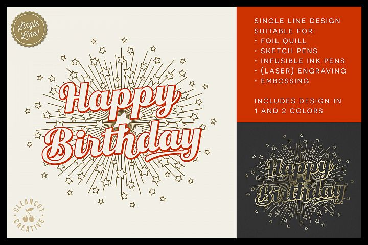 Foil Quill HAPPY BIRTHDAY single line sketch design SVG
