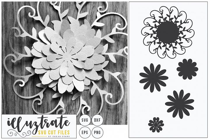 Layered Flower SVG Cut File, Paper Cutting, Paper Cut Flower