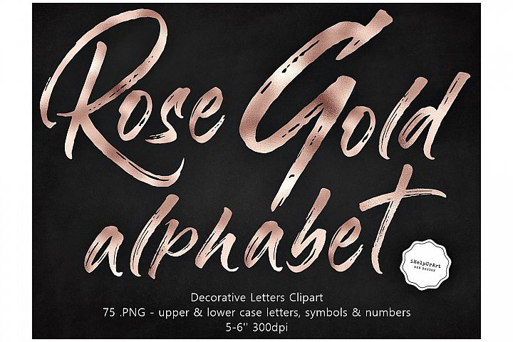 Rose Gold Decorative Letters Clipart