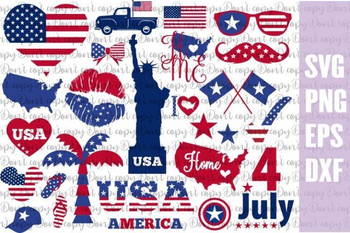 Bundle USA Patriotic SVG PNG EPS DXF, America SVG