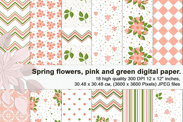 Tender spring floral patterns, Printable digital paper.