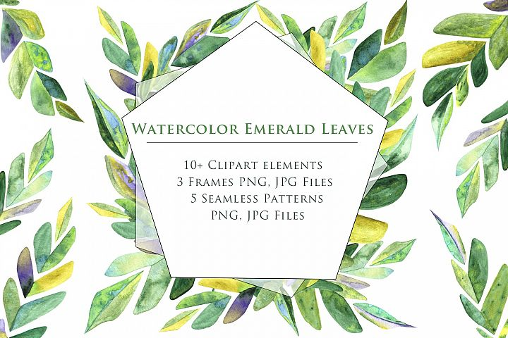 Watercolor Emerald Leaves SET