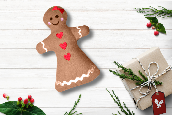 Gingerbread Girl Plush in the Hoop ITH Embroidery Design