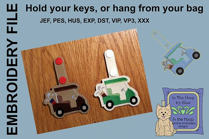 ITH Golf Cart Key Fob - Embroidery Design