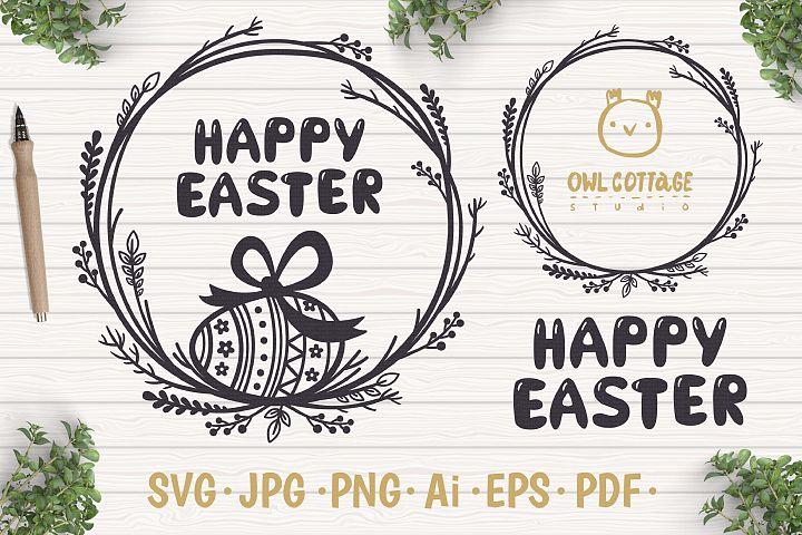 Easter Wreaths SVG, Floral Easter Monogram, Easter svg
