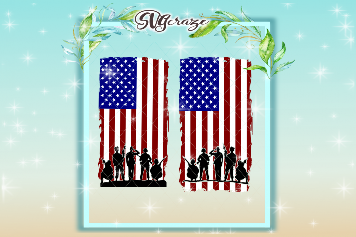 USA Soldiers American Flag SVG DXF files for Cricut
