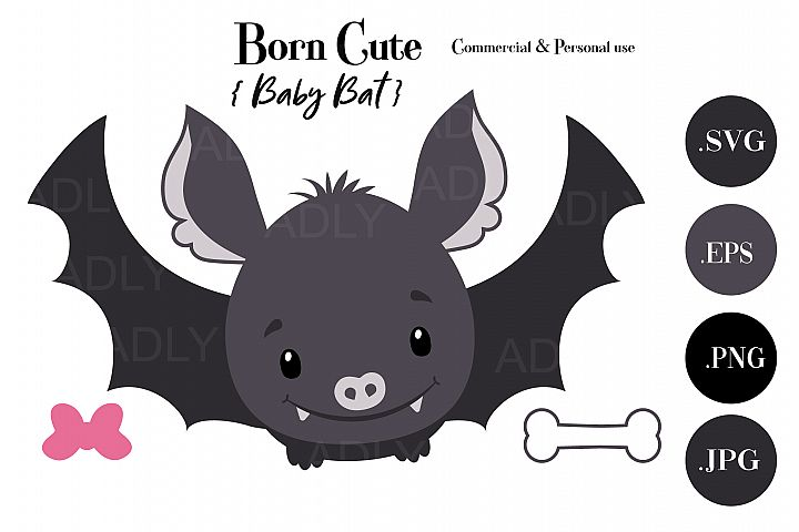Halloween Baby Bat Girl,Boy,ClipArt,SVG, vector, bow, bone