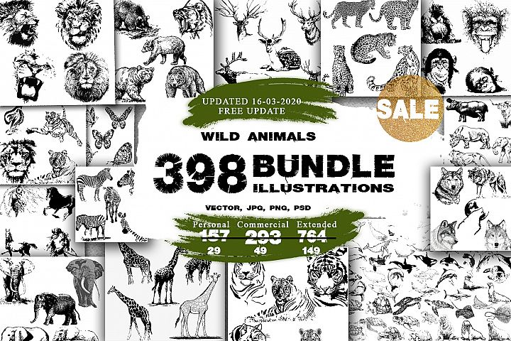 BUNDLE WILD ANIMALS VECTOR
