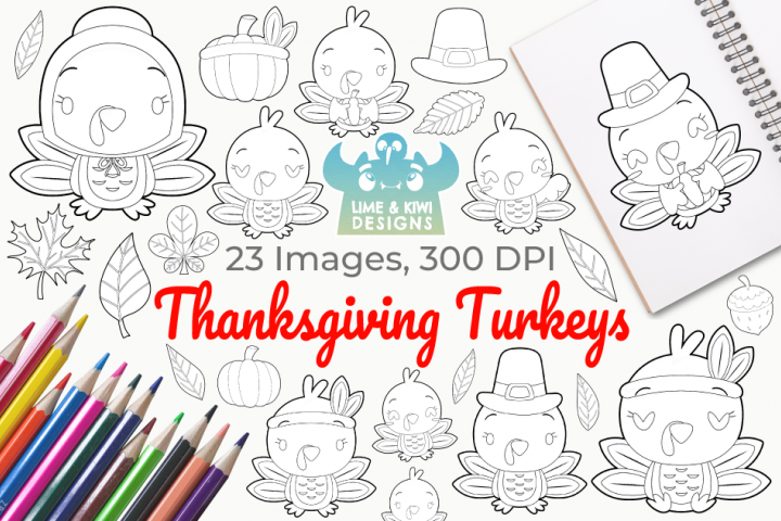 Thanksgiving Turkeys Digital Stamps