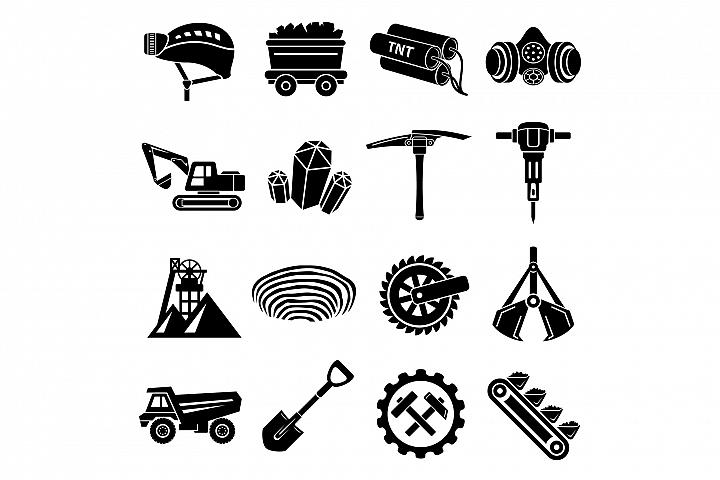 Coal mine icons set, simple style