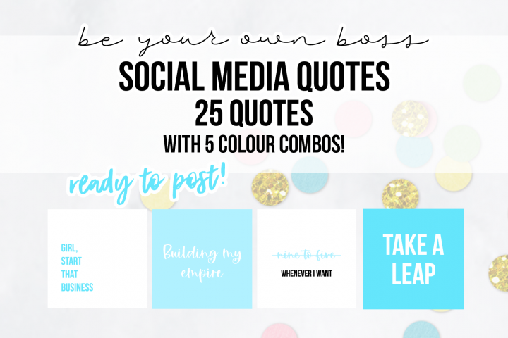 25 x Turquoise Blue Be Your Own Boss Social Media Quote