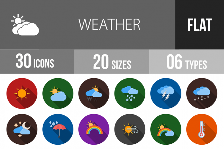 30 Weather Flat Long Shadow Icons