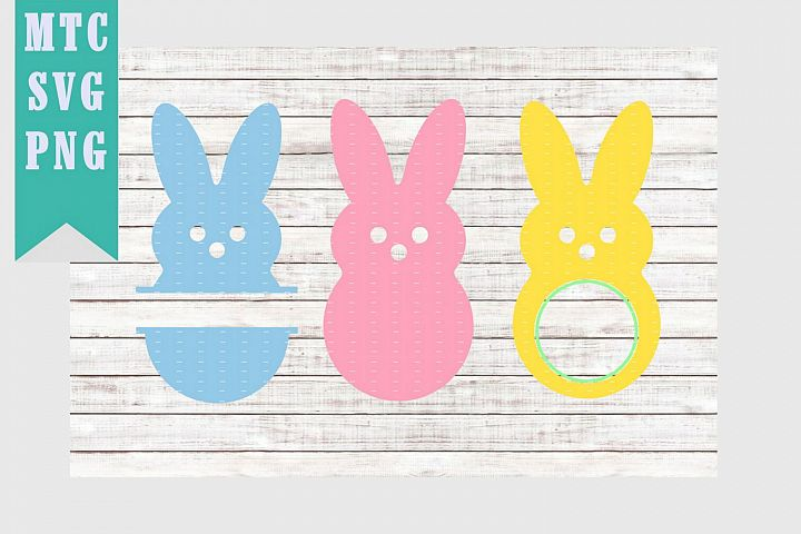 Simple Easter Bunny Monograms SVG Cut File