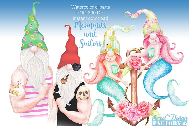 watercolor mermaid and sailor gnome clipart