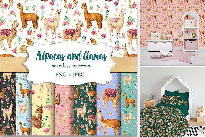 Alpacas and llamas .Seamless pattern