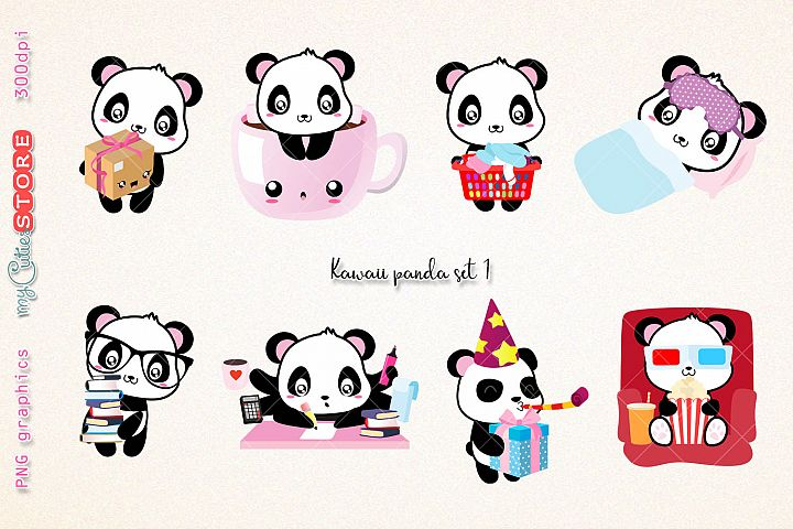 Collection of panda clipart, PNG graphics happy mail, business, laundry day clip art great for planner stickers or scrapbooking, invitations, cards.
