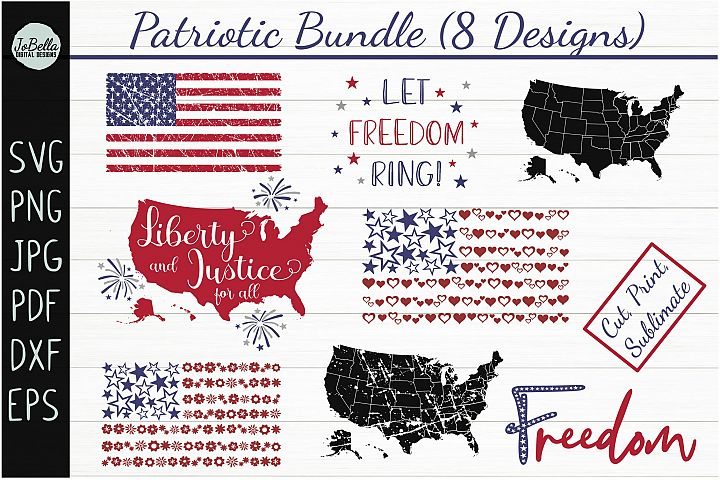 Patriotic SVG Bundle- July 4th Sublimation PNGs & Printables