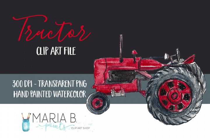 Red Tractor Watercolor Clip Art PNG