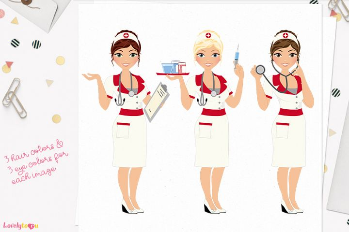 Nurse woman character clip art L401 Carly