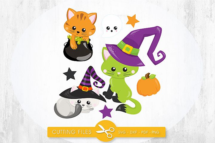 Witchy Poo Kitties cutting files svg, dxf, pdf, eps included - cut files for cricut and silhouette - Cutting Files SG