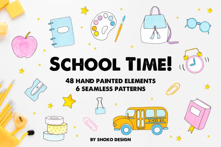 Hand Drawn School Supplies Set