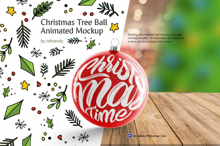 Christmas Tree Ball Animated Mockup