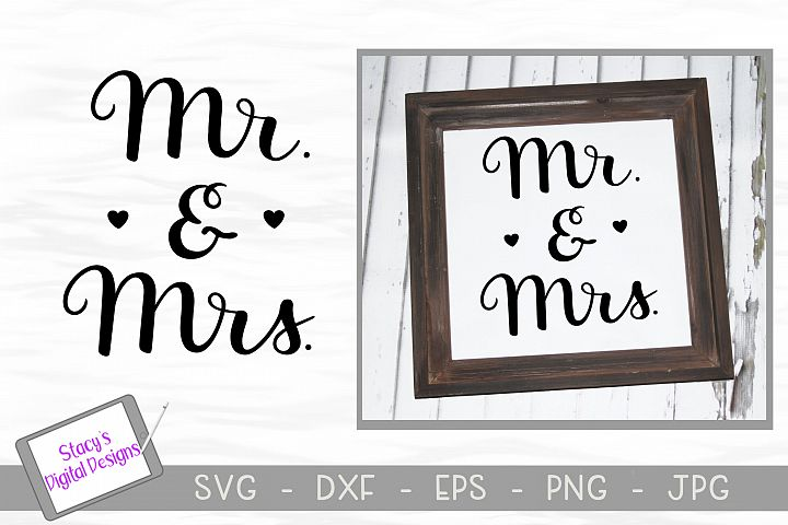 Mr. and Mrs. SVG - handlettered wedding svg example 1