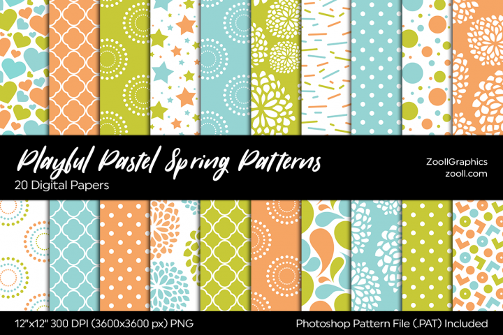 Playful Pastel Spring Digital Papers