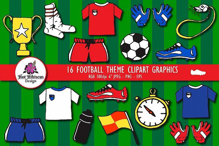 Soccer Football Kit Hand Drawn Graphic Clipart