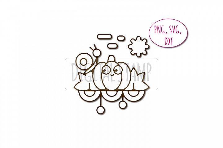 Pumpkin and snail photoshop brush. Friendship clipart