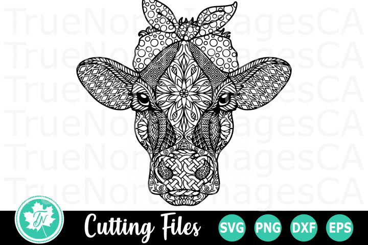 Zentangle Cow with Bandana - An Animal SVG Cut File