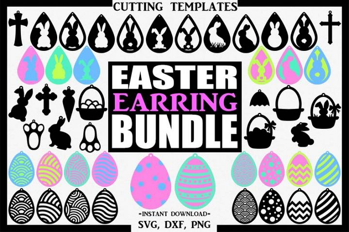 Easter Bundle Earrings, Silhouette, Cricut, Cut File, SVG