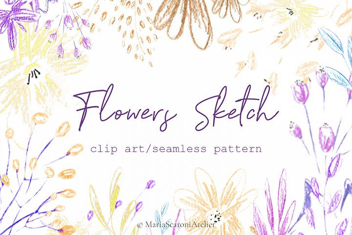 Flowers clip art, hand drawn flowers, seamless pattern