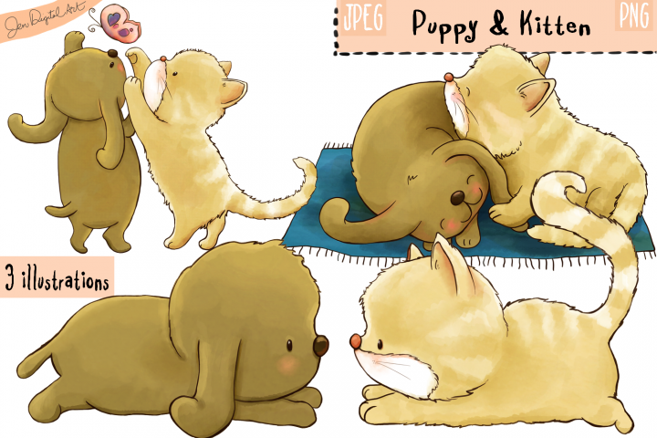 Puppy And Kitten | Clip art illustrations | PNG/JPEG
