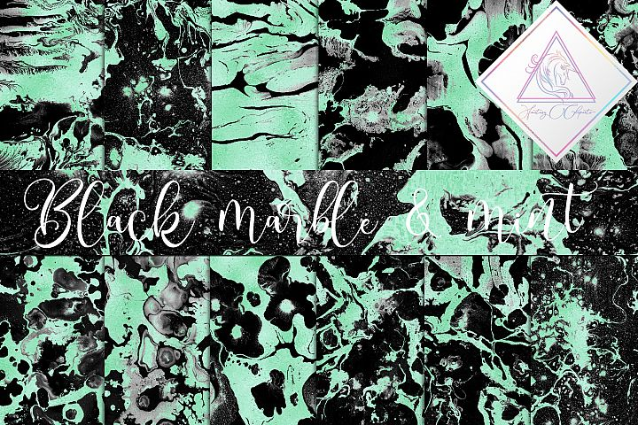 Black Marble & Mint Foil Digital Paper