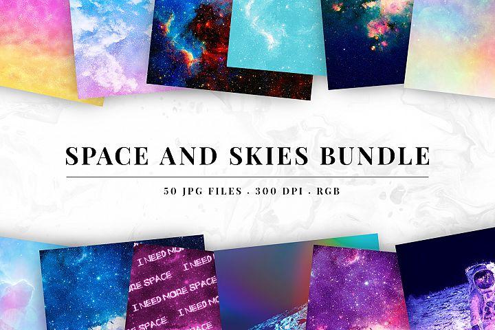 50 Backgrounds Bundle - Space & Skies