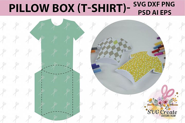 Pillow T-shirt box template gift file favor papercut svg diy