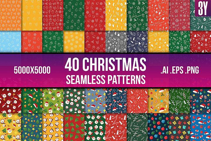 40 Christmas Seamless Patterns