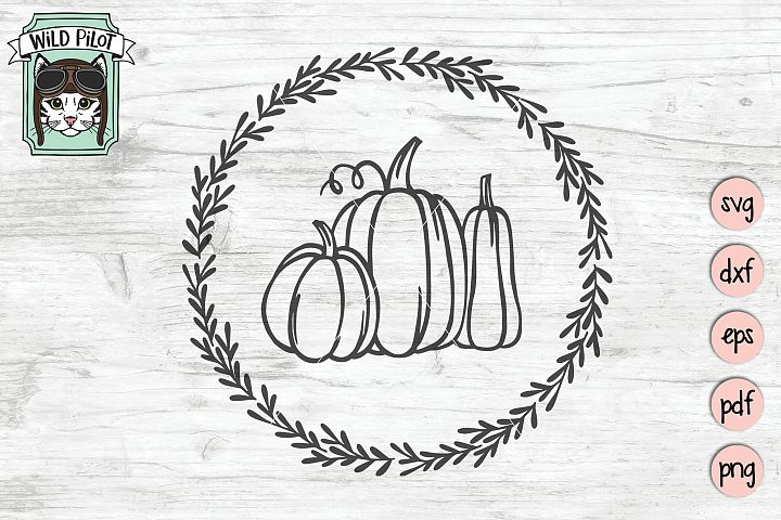Pumpkin Wreath svg file, Fall, Autumn cut file, gourd svg