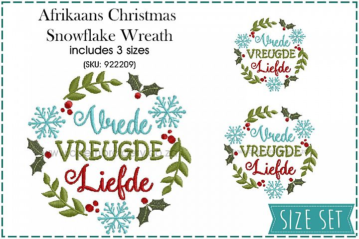Afrikaans Christmas Snowflake and Mistletoe Wreath