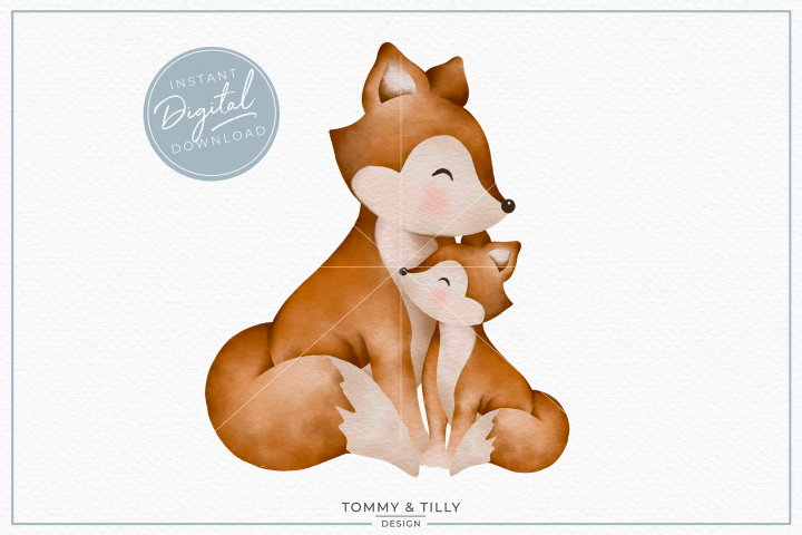 Mummy and Baby Fox - Sublimation PNG Clipart