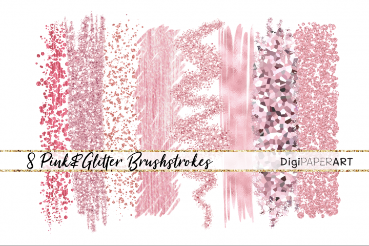 Pink Coral Glitter Brushstrokes